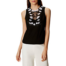 Buy Karen Millen Embroidered Lace Top, Black/White Online at johnlewis.com