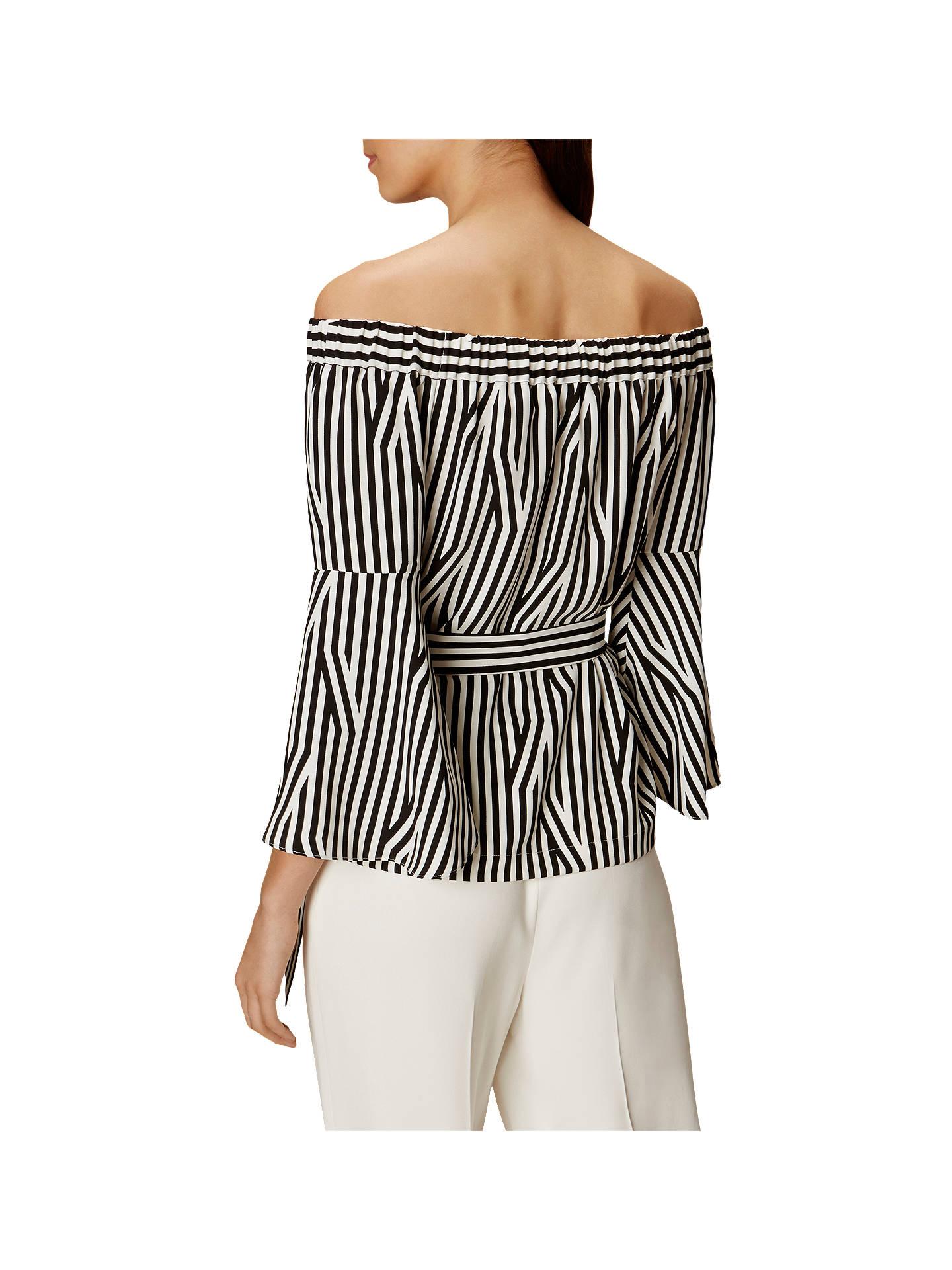 fb2ed72e0e16aa Buy Karen Millen Striped Bardot Top, Black/White, 6 Online at johnlewis.