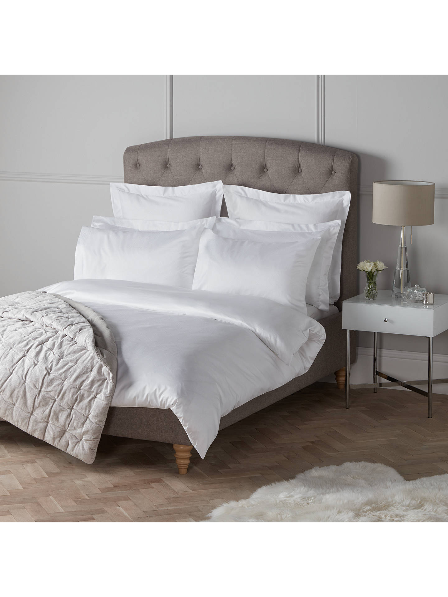 BuyJohn Lewis & Partners The Ultimate Collection Hamilton Jacquard 1000 Thread Count Cotton Standard Pillowcase, White Online at johnlewis.com