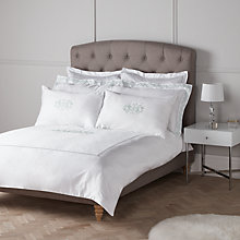 Buy John Lewis Hannah Crest Embroidered Cotton Bedding, Duck Egg Online at johnlewis.com