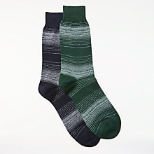 Buy John Lewis Egyptian Cotton Linen Socks, Pack of 2, Blue/Green Online at johnlewis.com