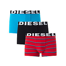 Buy Diesel Shawn Stripe Plain Trunks, Pack of 3, Blue/Black/Red Online at johnlewis.com