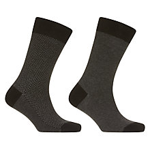 Buy John Lewis Made in Italy Egyptian Cotton Herringbone Stripe Socks, Pack of 2, Grey Online at johnlewis.com
