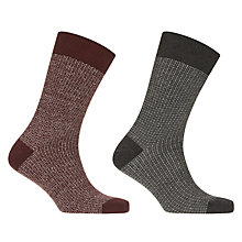Buy John Lewis Made in Italy Grid Patterned Socks, Pack of 2, Burgundy/Green Online at johnlewis.com