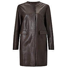 Buy Weekend MaxMara Maine Leather Coat, Dark Brown Online at johnlewis.com