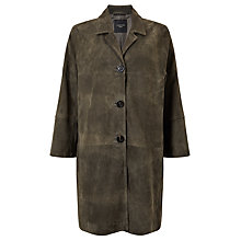 Buy Weekend MaxMara Tebano Suede Leather Coat, Khaki Online at johnlewis.com