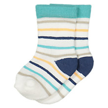 Buy Polarn O. Pyret Baby Striped Socks, White/Multi Online at johnlewis.com
