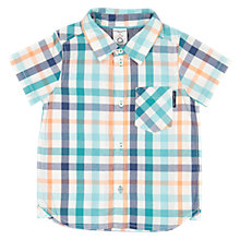 Buy Polarn O. Pyret Baby Short Sleeve Checked Shirt, Green Online at johnlewis.com