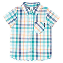 Buy Polarn O. Pyret Boys' Short Sleeve Checked Shirt, Green Online at johnlewis.com