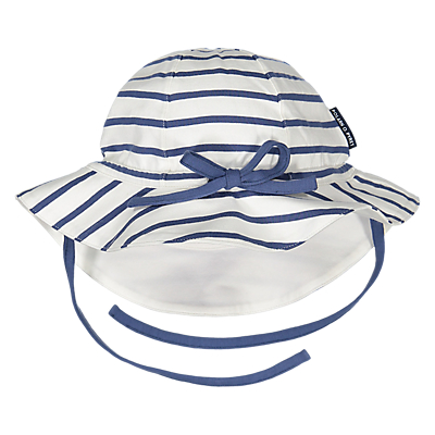 Polarn O. Pyret Baby Striped Hat, White/Blue