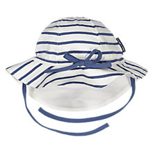 Buy Polarn O. Pyret Baby Striped Hat, White/Blue Online at johnlewis.com