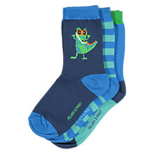 Buy Polarn O. Pyret Children's Crocodile Socks, Pack of 3, Blue Online at johnlewis.com
