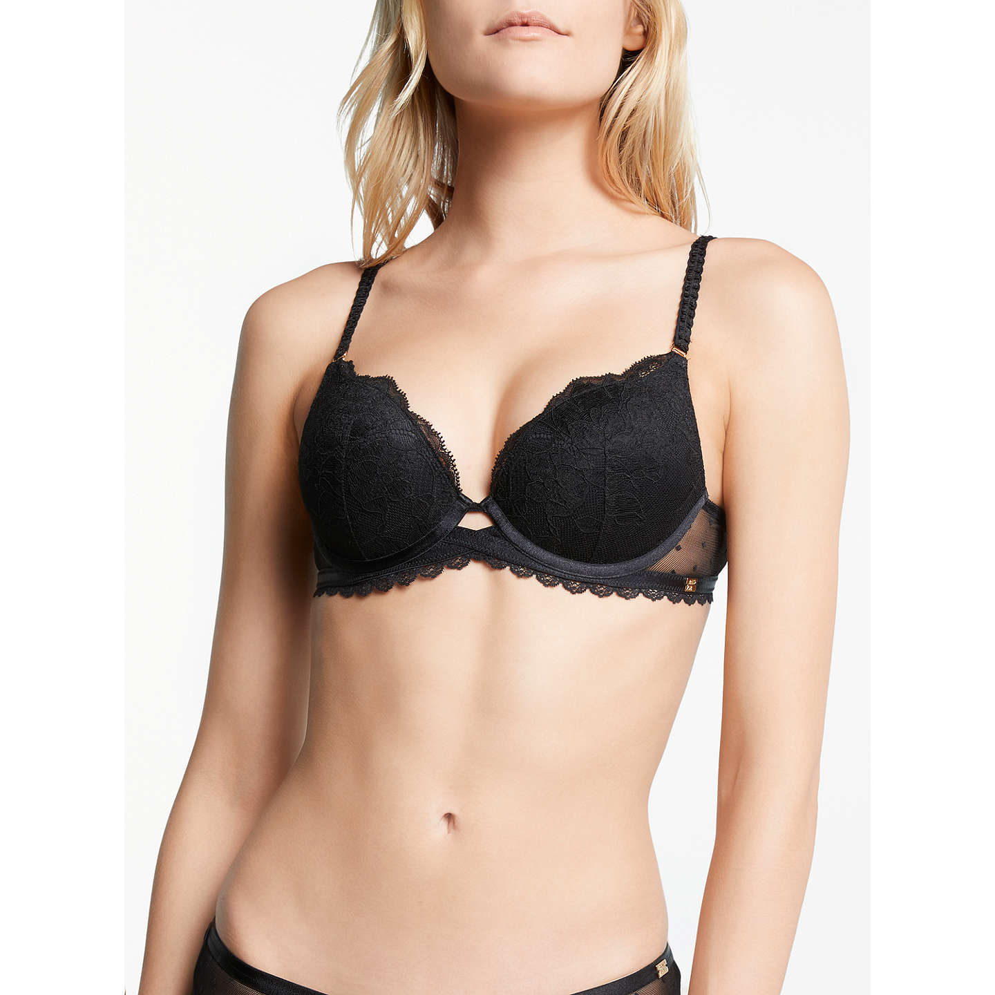 BuyAND/OR Arabella Lace Plunge Bra, Black, 30B Online at johnlewis.com