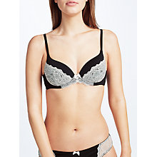 Buy John Lewis Sophia Lace Detail T-Shirt Bra, Black/Cream Online at johnlewis.com