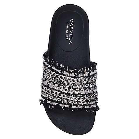 Buy Carvela Kit Flat Slider Sandals, Black Online at johnlewis.com
