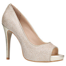 Buy Carvela Alberta Peep Toe Stiletto Sandals, Gold Fabric Online at johnlewis.com