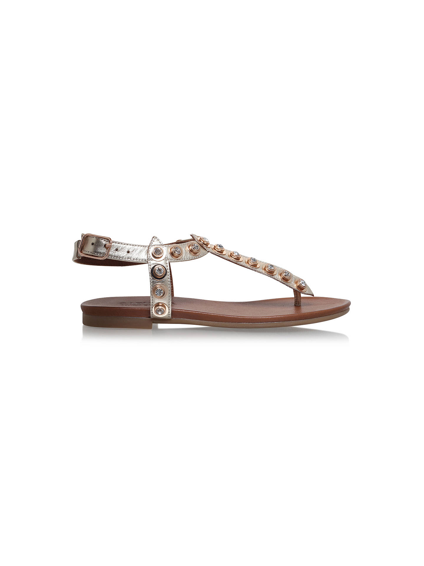 BuyCarvela Kave Embellished T-Bar Sandals, Gold, 4 Online at johnlewis.com