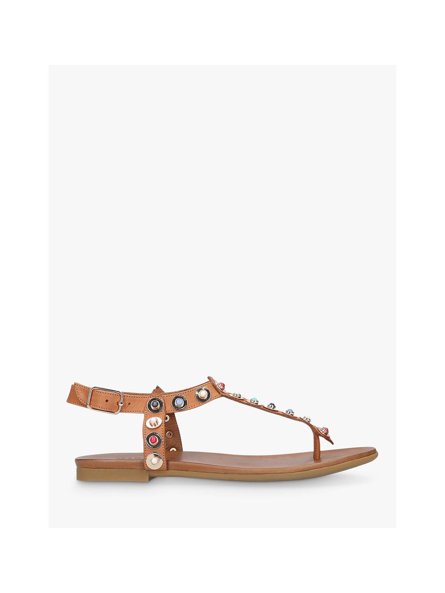 BuyCarvela Kankan Studded T-Bar Sandals, Tan Leather, 3 Online at johnlewis.com