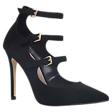 Buy Carvela Lynx Triple Strap Court Shoes, Black Online at johnlewis.com