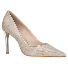 Buy Carvela Alison Pointed Toe Stiletto Court Shoes, Gold Fabric Online at johnlewis.com