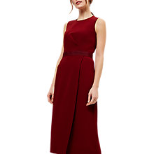 Buy Jaeger Belt Detail Drape Dress, Bordeaux Online at johnlewis.com