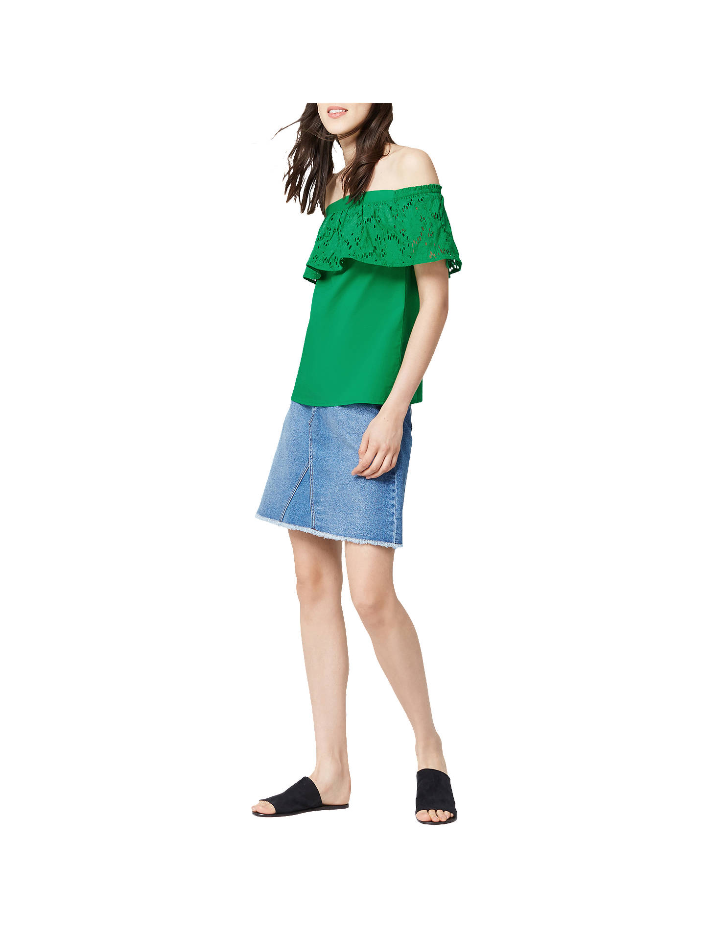 BuyWarehouse Broderie Off Shoulder Top, Bright Green, 6 Online at johnlewis.com