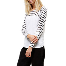 Buy Jaeger Linen Jersey Breton Top, White Online at johnlewis.com