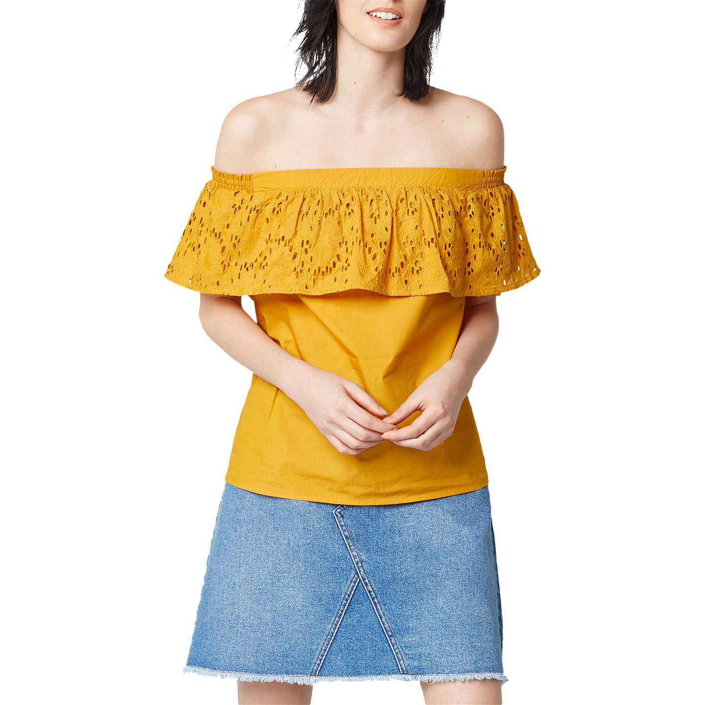 BuyWarehouse Broderie Off Shoulder Top, Mustard, 6 Online at johnlewis.com