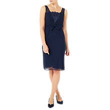 Buy Jacques Vert Chiffon Lace Trim Dress, Navy Online at johnlewis.com