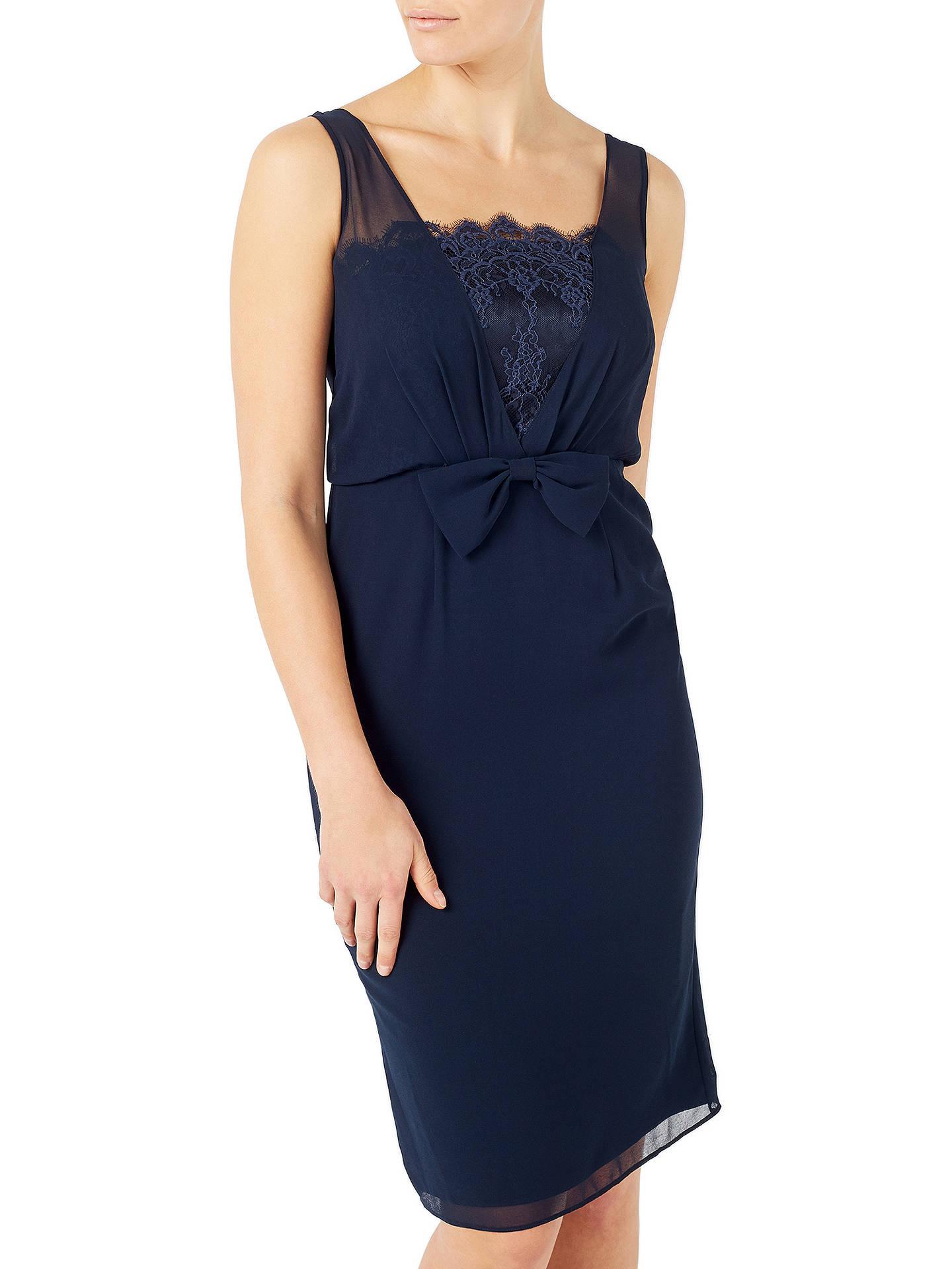 50090ff88d0d ... Buy Jacques Vert Chiffon Lace Trim Dress, Navy, 8 Online at  johnlewis.com ...
