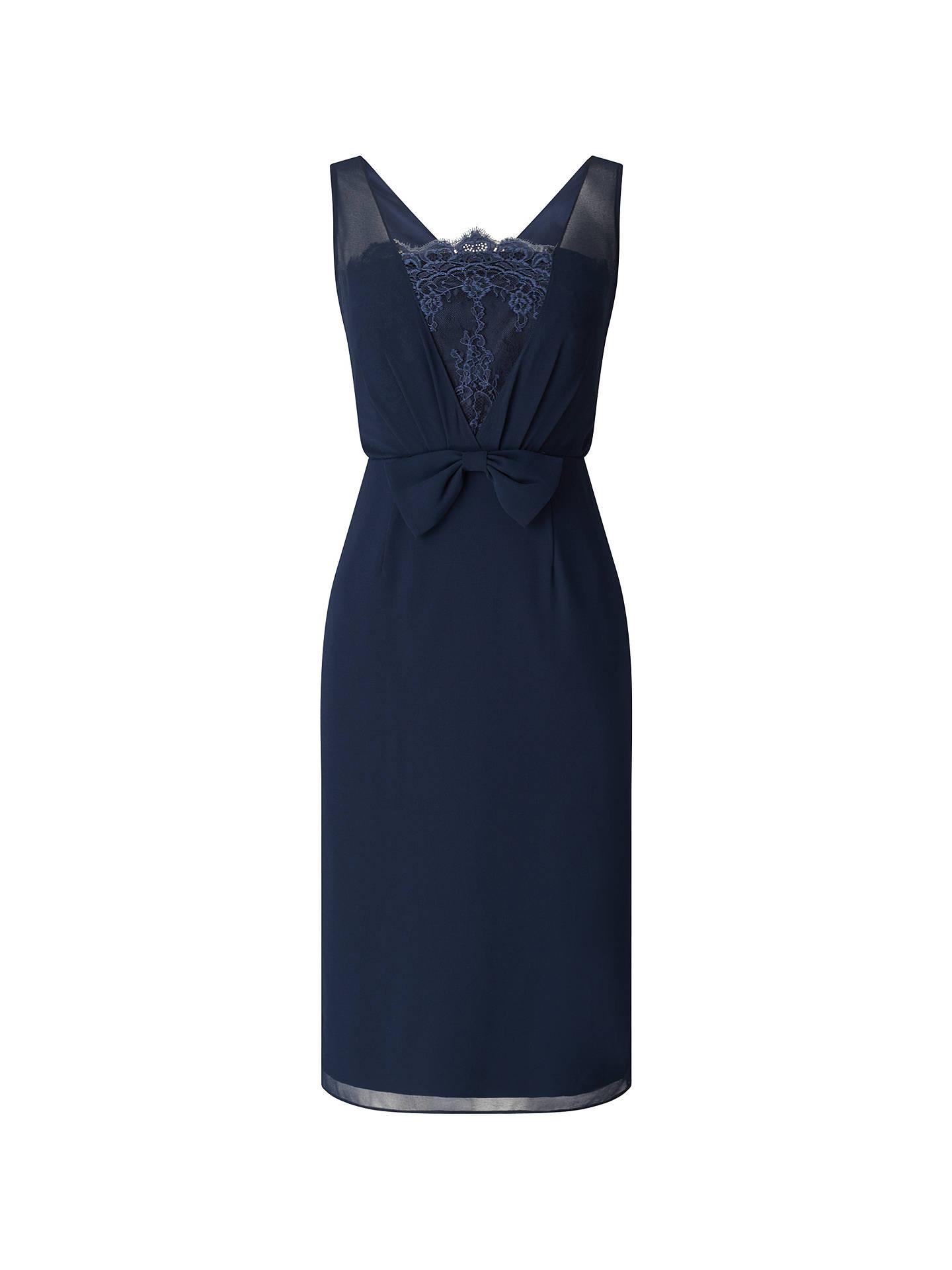 aa99070dbb6f ... Buy Jacques Vert Chiffon Lace Trim Dress, Navy, 8 Online at  johnlewis.com