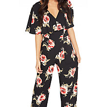 Buy Miss Selfridge Floral Frill Jumpsuit, Black Online at johnlewis.com