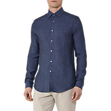 Buy Reiss Holland Slim Fit Linen Shirt, Steel Blue Online at johnlewis.com