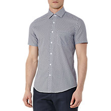 Buy Reiss Capri Print Short Sleeve Shirt, Blue Online at johnlewis.com