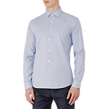Buy Reiss Mattusi Houndstooth Cotton Slim Fit Shirt, Soft Blue Online at johnlewis.com