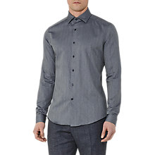 Buy Reiss Ronny Textured Cotton Shirt, Blue Online at johnlewis.com