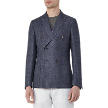 Buy Reiss Robson Linen Wool Double Breasted Blazer, Indigo Online at johnlewis.com