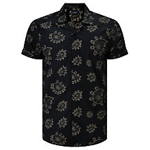 Buy Scotch & Soda Short Sleeve Allover Paisley Print Shirt, Black Online at johnlewis.com
