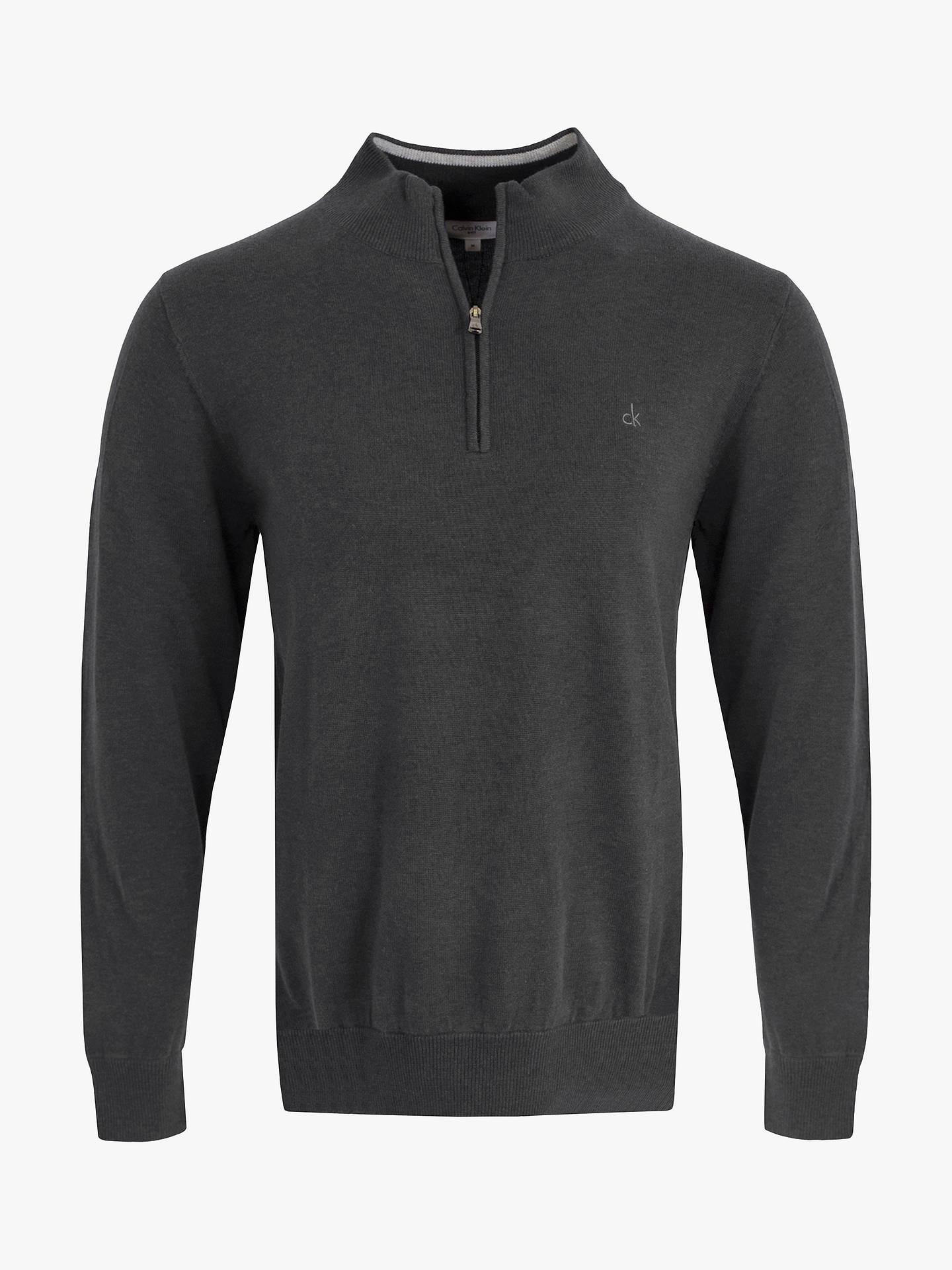 BuyCalvin Klein Golf Heather Half-Zip Sweatshirt, Charcoal, S Online at johnlewis.