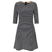 Buy BOSS Orange Structured Stripe A-Line Dress, Dark Blue Online at johnlewis.com