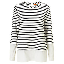 Buy BOSS Orange Tawoven Stripe Jersey T-Shirt, Open White Online at johnlewis.com