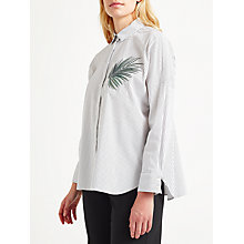 Buy Marella Magma Embroidered Stripe Shirt, White/Grey Online at johnlewis.com