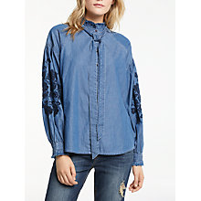 Buy AND/OR Embroidered Sleeve Blouse, Denim Blue Online at johnlewis.com