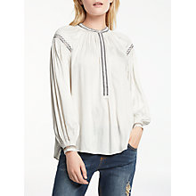 Buy AND/OR Darcy Gathered Embroidered Shoulder Blouse, Ivory/Black Online at johnlewis.com
