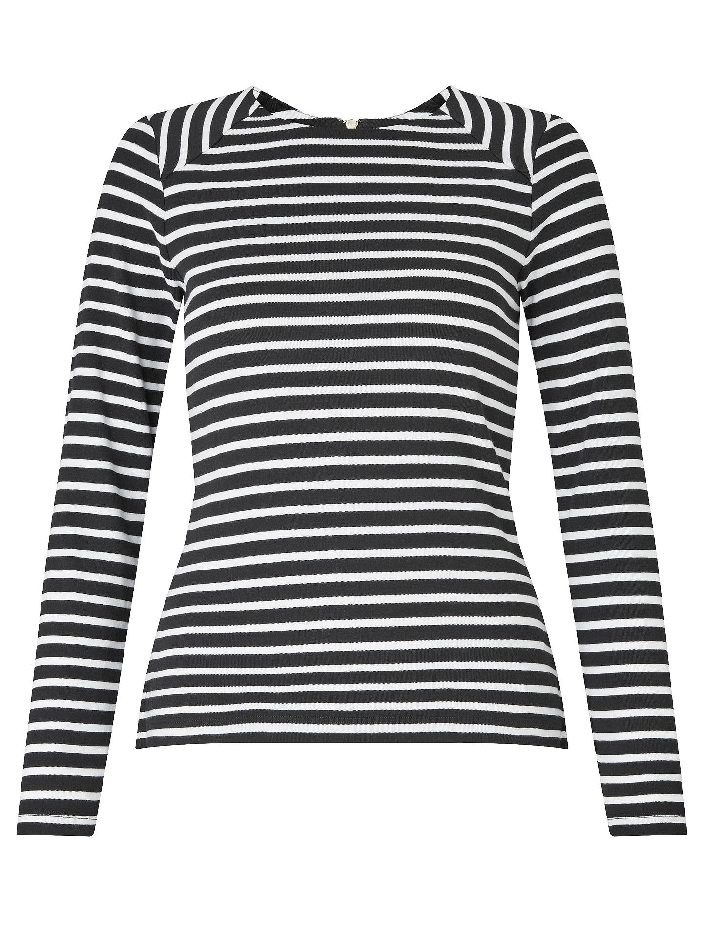 Buy Collection WEEKEND by John Lewis Breton Stripe Zip Back Top, Black/White, 8 Online at johnlewis.com