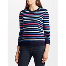 Buy Collection WEEKEND by John Lewis Fine Stripe Cashmere Jumper, Navy/Pink Online at johnlewis.com