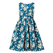 Buy John Lewis Heirloom Collection Girls' Floral Print Satin Dress, Sterling Blue Online at johnlewis.com