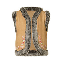 Buy John Lewis Girls' Faux Fur Reversible Sheepskin Gilet, Brown Online at johnlewis.com
