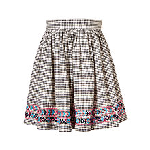 Buy John Lewis Girls' Check Embroidered Skirt, Gardenia Online at johnlewis.com