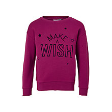 Buy John Lewis Girls' Make-A-Wish Sweatshirt, Magenta Berry Online at johnlewis.com